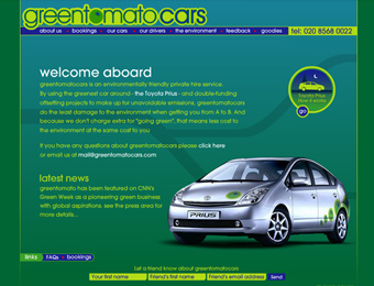 main landing page of the website which includes database driven copy