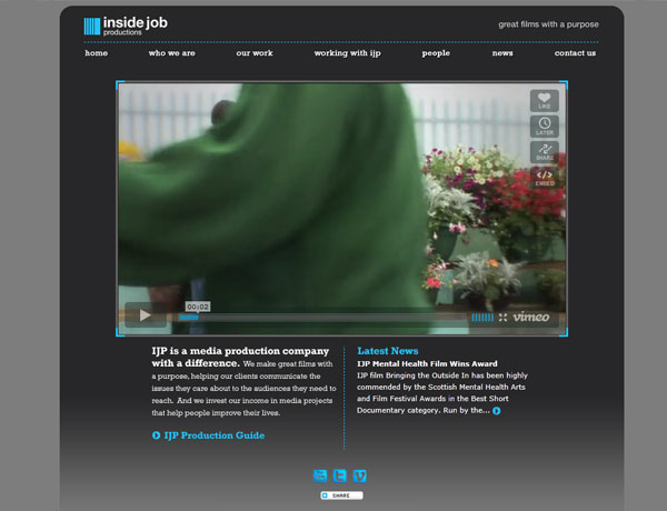 screenshot of landing page within the ijp website - making use of a large integrated vimeo video