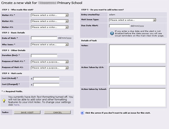the overview screen for a selected school