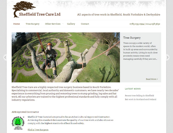 Sheffield Tree Care website